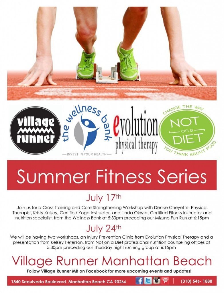 Injury Prevention and Nutrition Clinics @ Village Runner Manhattan Beach | Manhattan Beach | California | United States